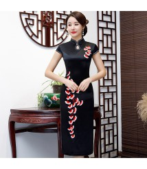 formal mother of bride dress  embroidery qipao black color cheongsam