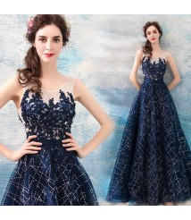 blue lace long dress hand made tulle dress