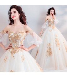 embroidery bride perspective latern-sleeve wedding princess dress