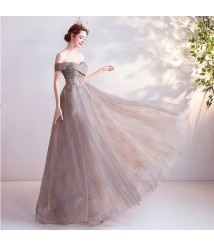 gold coffee color annual performance grey tulle wedding gown