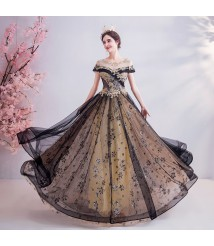hand made dress for wedding part black spark tulle lace dress
