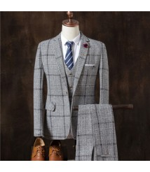 Autumn and winter new leisure leisure suit suit three-piece men's plaid suit