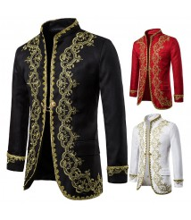 Men's European-style gold-encrusted dresses, court clothes, studio clothing, black and white opera stage performance clothing