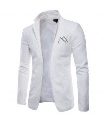 Men slim suit Casual blazers man's Linen White suits