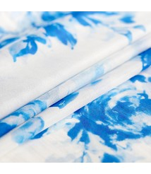 Classic blue and white porcelain hand-painted printing and dyeing fabric, silk chiffon