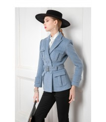 2020 new style pure wool retro suit woolen coat women