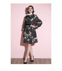 2020 new ladies waist belted trench coat long top
