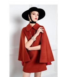 Cloak coat coat female red popular new woolen coat