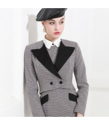 Fashion Plaid Blazer Tweed Jacket New