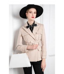 2020 new pure wool retro suit woolen coat women