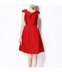 2020 multi-pleated red silk dress mulberry silk midi skirt