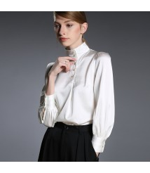 2020 new mulberry silk pure color white silk shirt women long sleeve top