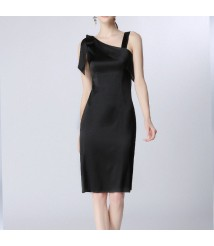 2020 new silk dress, mulberry silk sling, black lace-up skirt