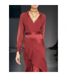 Red long-sleeved shirt top half skirt two-piece suit new