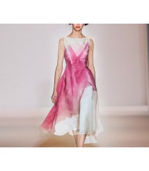 Rose red gradient color sleeveless dress fashion 2020 new