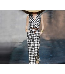 Suit collar sleeveless jumpsuit women 2020 new black and white plaid
