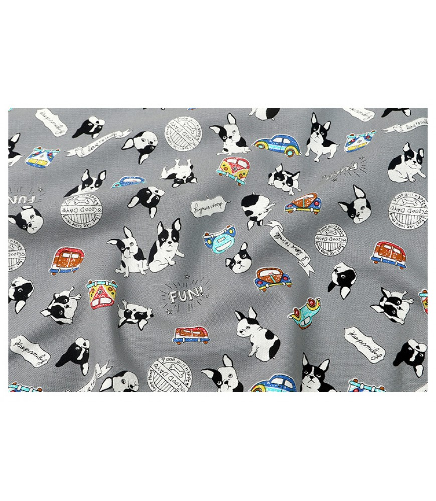 Taiwan pure cotton fabric handmade diy fabric cartoon pug calico trolley clothing fabric fabric