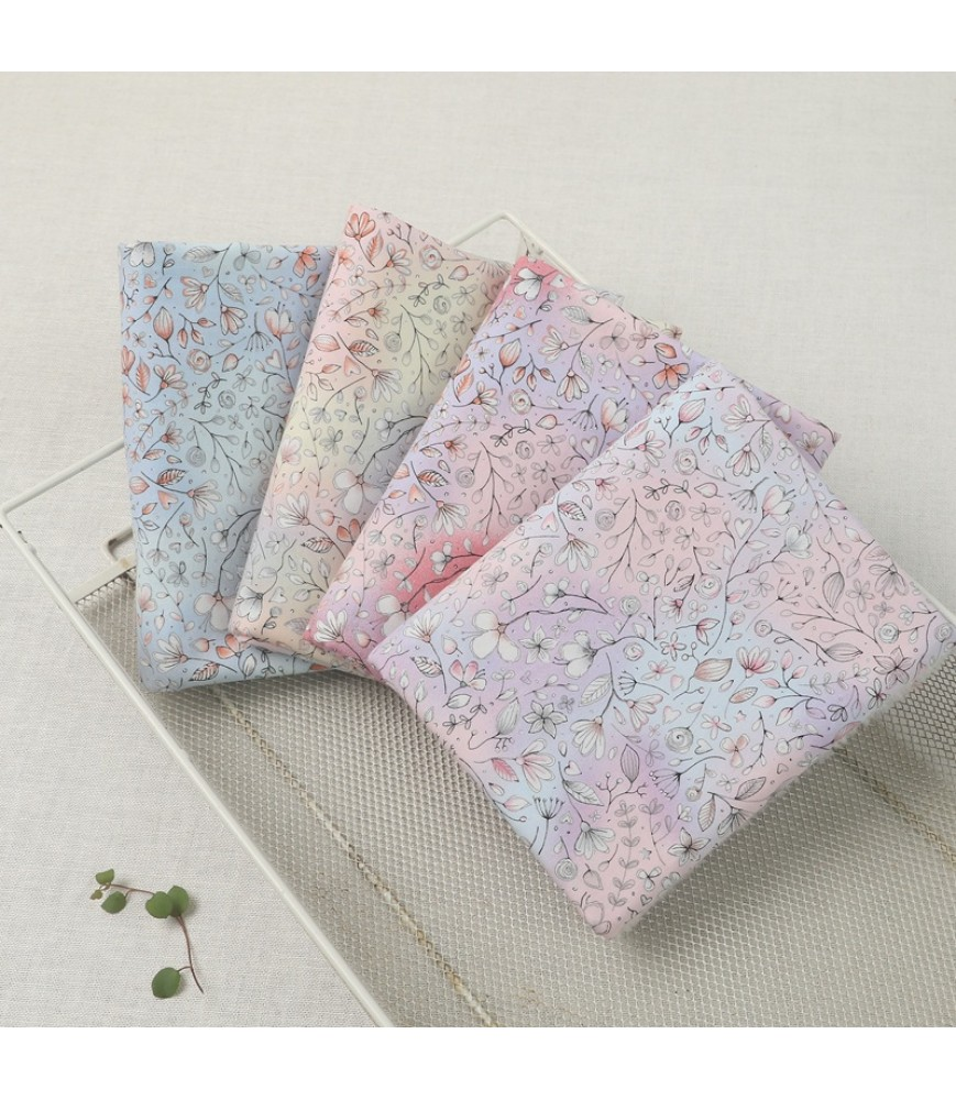 Gradient grass floral cotton Taiwan printed fabric Japanese style fabric floral fabric Dream girl pink fabric