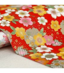2063 bronzing cherry blossom cotton printed cloth imported from Taiwan, cheongsam clothing handmade fabric