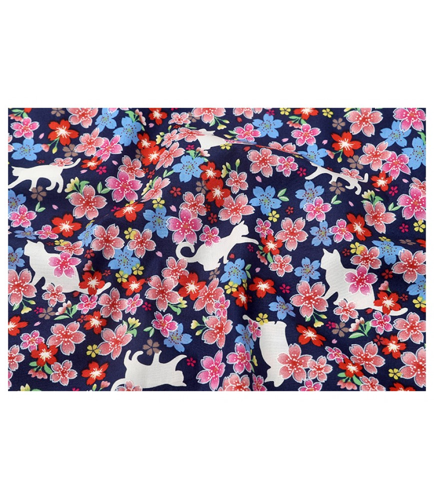 Japanese style fabric, white background, cat small cherry blossoms, Taiwan imported printed fabric, bag garment fabric