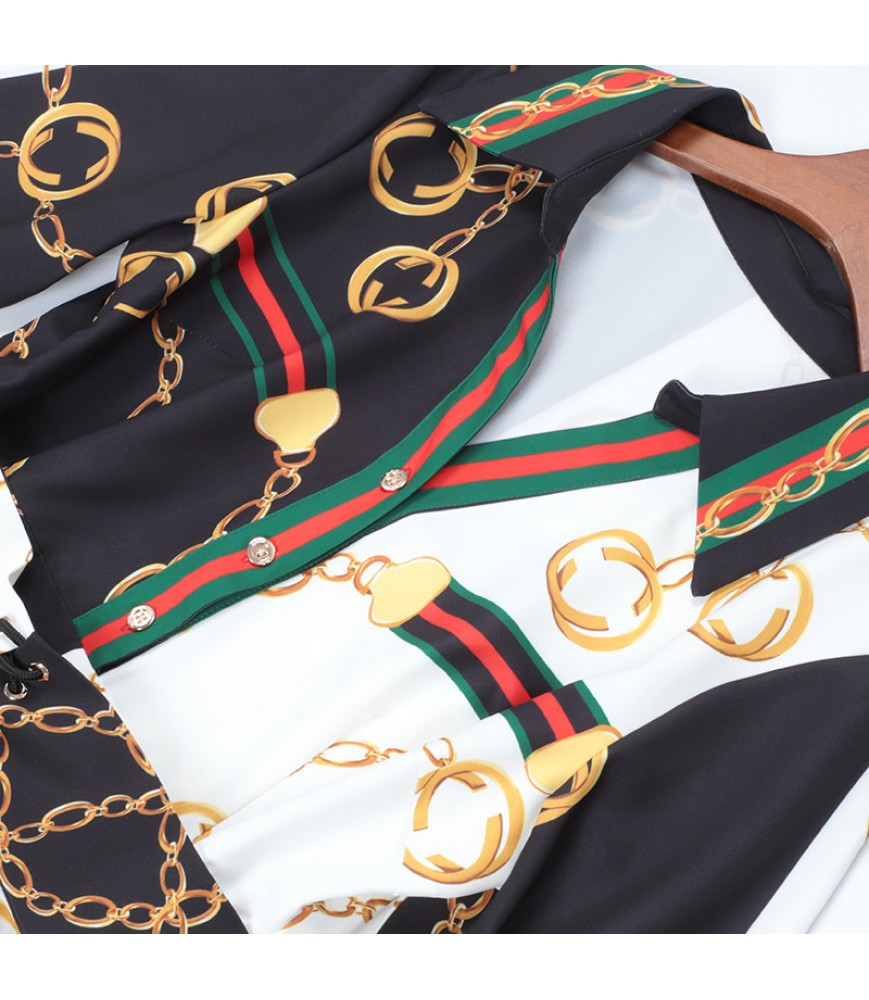 2019 spring and summer new women's European and American high-end lapel long-sleeved belt waist stitching dress one drop