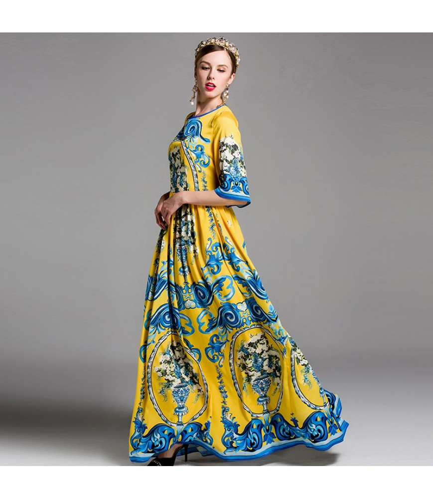2017 spring women's Sicilian style exquisite printing waist flared sleeves large swing dress dress skirt
