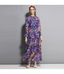Summer 2018 new women's retro print stand collar long sleeve beach dress Slim big swing dress