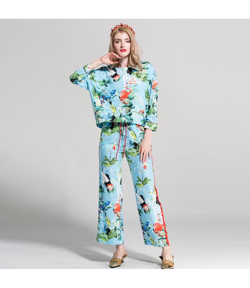 European and American spring and summer women's clothing 2019 cross-border AliExpress new product fashion printing long-sleeved high-waist straight-leg pants suit trend