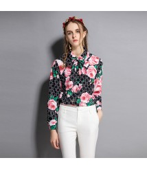 2018 spring and summer new women's fashion printed long-sleeved square collar shirt retro slim all-match shirt