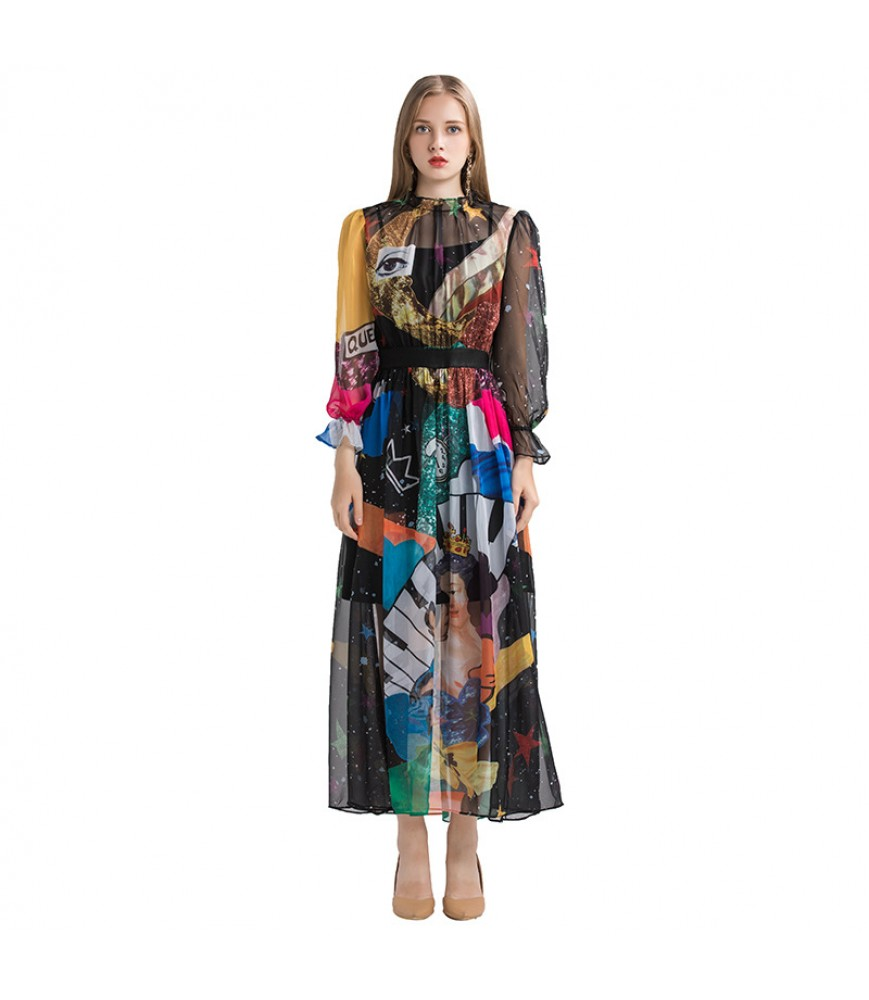 2019 early autumn European and American women's new products digital printing trend sweet temperament dress all-match one drop delivery