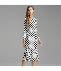 2019 Summer Women's AliExpress Hot Style Polka Dot Print Round Neck Slim Fishtail Mid-length Dress Long Sleeve Dress