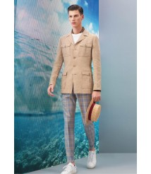 custom made men Khaki Casual Suit  wool and cashmere fabric style-z15