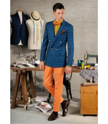 custom made men Blue check double breasted suit wool and cashmere fabric style-z20