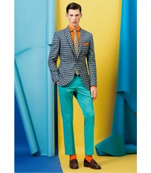 custom made men Blue check suit wool and cashmere fabric style-z22