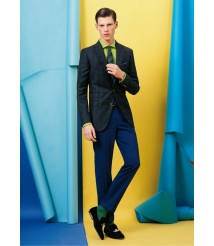 custom made men blue check suit wool and cashmere fabric style-z23
