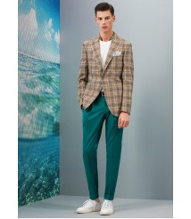 custom made men Apricot color  check suit wool and cashmere fabric style-z28