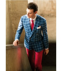 custom made men  blue Double breasted suit wool and cashmere fabric style-z29