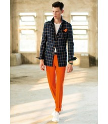 custom made Blue plaid suit red pants suit wool and cashmere fabric style-z30