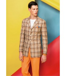 custom made men Brown plaid casual suit wool and cashmere fabric style-z34