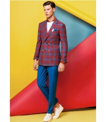 custom made men blue and red plaid casual suit wool and cashmere fabric style-z35