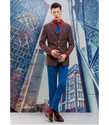 custom made men Brown plaid casual suit wool and cashmere fabric style-z37