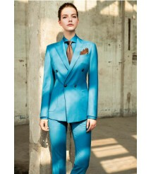 custom made Blue double breasted  women suit  wool and cashmere fabric style-06