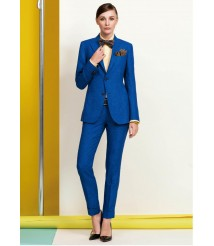 custom made women Blue business suit  wool and cashmere fabric style-07