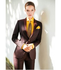 custom made women Brown suit wool and cashmere fabric style-09