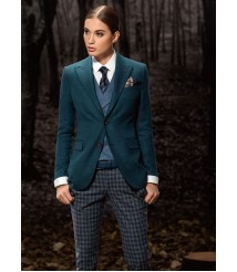custom made women Blue casual suit wool and cashmere fabric style-12