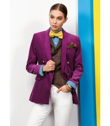 custom made women Purple suit wool and cashmere fabric style-23