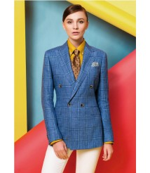 custom made women Blue check double breasted suit  wool and cashmere fabric style-24